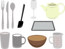 Vector keukengerei en mede Stock Afbeelding