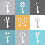 Vector key logos and signs in linear style Stock Photo