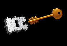 Vector key moving to unlock Stock Photo