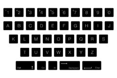 Vector Keyboard Computer Letter Keys. Isolated Black Buttons in Vector Illustration