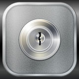 Vector keyhole on metal. Vector keyhole in round lock on a metal board, safety concept Royalty Free Stock Image
