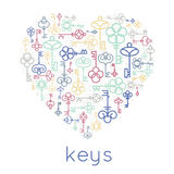Vector keys heart badge Royalty Free Stock Photo