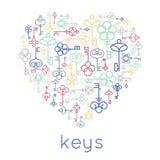 Vector keys heart badge Royalty Free Stock Photo