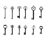 Vector keys silhouette set. Antique Keys Royalty Free Stock Image