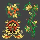 Vector khokhloma pattern design traditional Russia drawn illustration ethnic ornament painting illustration Royalty Free Stock Photo
