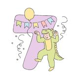 Vector kid in crocodile costume number 7 seven. Vector funny kid in crocodile fancy costume near seven 7 holiday number with buntings, balloons and confetti vector illustration