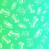 Vector kid seamless pattern with brush strokes and dots. White color on green blue gradient background. Hand painted Stock Photos