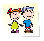 Vector Kids. Vector happy fiends. Boy and Girl Royalty Free Stock Images