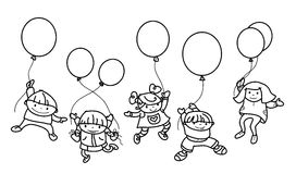 Vector   kids with balloons. Stock Photo