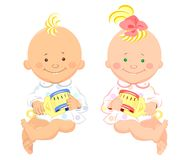 Vector kids, boy, girl, are sitting and smilling. Two little kids with a rattle in their hands are sitting and smiling Royalty Free Stock Photo