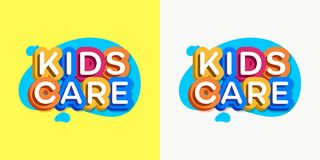 Vector kids care logo cartoon colorful style. For game zone, shop, baby club, children school, clothes company, play room, toys shop, toy market, cafe, banner royalty free illustration