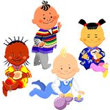 Vector Kids of different nationalities. Vector of the Mexican and Russian boys, African and Chinese girl Royalty Free Stock Image