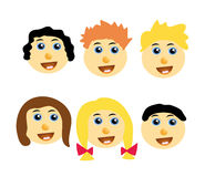 Vector kids happy faces Royalty Free Stock Images