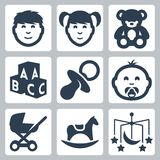Vector 'kids' icons set Stock Photo
