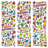 Vector kids party Children birthday icons in doodle style Illustration with children, candy, balloon, boys, girls. Vector kids party Children birthday icons in Stock Photo