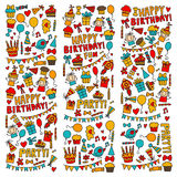 Vector kids party Children birthday icons in doodle style Illustration with children, candy, balloon, boys, girls. Vector kids party Children birthday icons in Stock Image