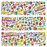 Vector kids party Children birthday icons in doodle style Illustration with children, candy, balloon, boys, girls. Vector kids party Children birthday icons in Stock Photos