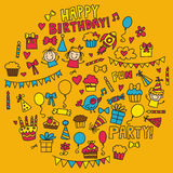 Vector kids party Children birthday icons in doodle style Illustration with children, candy, balloon, boys, girls. Vector kids party Children birthday icons in Royalty Free Stock Photo