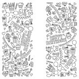 Vector kids party Coloring page Children birthday icons in doodle style Illustration with children, candy, balloon, boys. Vector kids party Children birthday Stock Photo