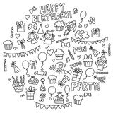 Vector kids party Coloring page Children birthday icons in doodle style Illustration with children, candy, balloon, boys. Vector kids party Children birthday Stock Image