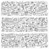 Vector kids party Coloring page Children birthday icons in doodle style Illustration with children, candy, balloon, boys. Vector kids party Children birthday Royalty Free Stock Images