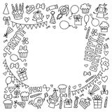 Vector kids party Coloring page Children birthday icons in doodle style Illustration with children, candy, balloon, boys. Vector kids party Children birthday Royalty Free Stock Photography