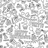 Vector kids party Coloring page Children birthday icons in doodle style Illustration with children, candy, balloon, boys. Vector kids party Children birthday Stock Images