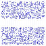Vector kids party Notepad paper Children birthday icons in doodle style Illustration with children, candy, balloon, boys. Vector kids party Children birthday Stock Photos