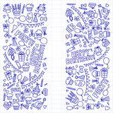 Vector kids party Notepad paper Children birthday icons in doodle style Illustration with children, candy, balloon, boys. Vector kids party Children birthday Royalty Free Stock Image