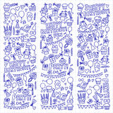 Vector kids party Notepad paper Children birthday icons in doodle style Illustration with children, candy, balloon, boys. Vector kids party Children birthday Royalty Free Stock Images