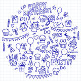 Vector kids party Notepad paper Children birthday icons in doodle style Illustration with children, candy, balloon, boys. Vector kids party Children birthday Stock Photo