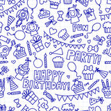 Vector kids party Notepad paper Children birthday icons in doodle style Illustration with children, candy, balloon, boys. Vector kids party Children birthday Royalty Free Stock Photos