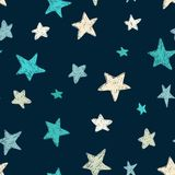 Vector kids pattern with doodle textured stars. Vector seamless background, blue, gray, white, scandinavian style stock illustration