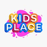Vector kids place logo cartoon colorful style. For game zone, shop, baby club, children school, clothes company, play room, toys shop, toy market, cafe, banner stock illustration