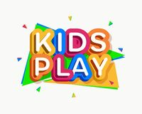 Vector kids play logo cartoon colorful style. For game zone, shop, baby club, children school, clothes company, play room, toys shop, toy market, cafe, banner vector illustration