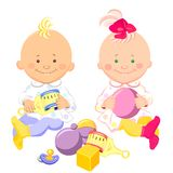 Vector  kids play with toys. Vector two little kids with a rattle and a ball in their hands are sitting and smiling Royalty Free Stock Photos