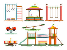 Vector Kids Playground Flat Design Stock Images
