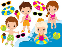 Vector Kids Pool Party Set Stock Image
