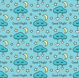 Vector seamless pattern with stars, moon, hearts, clouds and text. Vector kids seamless pattern with stars, hearts, moon, cloud. Children vector background Royalty Free Stock Image