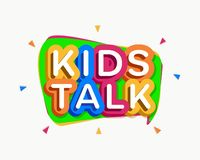 Vector kids talk logo cartoon colorful style. For baby land, kids play, game zone, shop, baby club, children school, play room, toys shop, market, cafe, banner vector illustration
