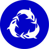 Vector killer whale icon. Blue and white. Simply change Stock Images