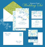 Vector Kimono Floral Wedding Invitation Set. RSVP. Thank you card, envelop graphic design Stock Photos