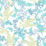 Vector Kimono Plants Lineart Seamless Pattern Royalty Free Stock Photography