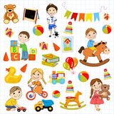 Vector kindergarten pattern with boys and girls Stock Image