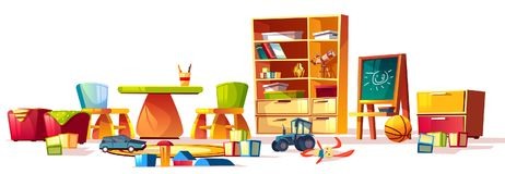 Vector kindergarten toys set, games for playground room stock illustration