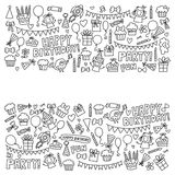 Vector Kinderpartei Farbtonseite Kindergeburtstagsikonen in Gekritzelart Illustration mit Kindern, Süßigkeit, Ballon, Jungen Stockfotos