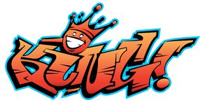 Vector king word lettering in urban graffiti style with customizable colors. Stock Photography