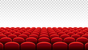 Vector Kino- oder Theaterreihen von roten Sitzen Stockfotos