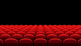 Vector Kino- oder Theaterreihen von roten Sitzen Lizenzfreies Stockfoto