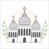Vector Kirche, Tempel, Kapelle mit Hauben und Kreuze Religion ist Christentum, Taufe Getrennte Nachricht auf weißem Hintergrund E lizenzfreie abbildung